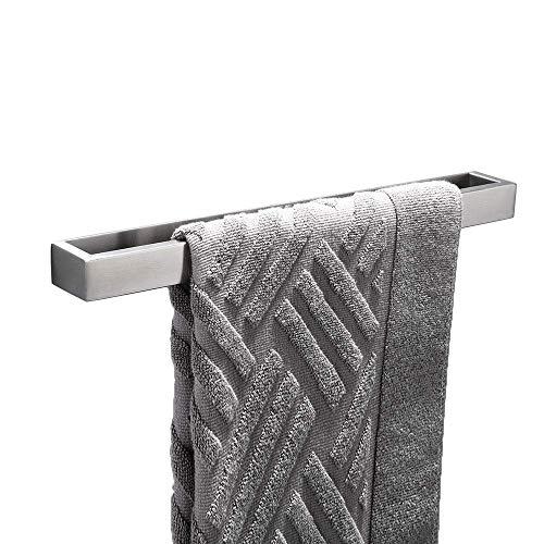 Homovater Single-Handtuchstange Handtuchhalter ohne Bohren 40cm,Edelstahl Patentierter Kleber + Selbstklebender 3M Selbstklebend Stickers,Gebürstetes Finish