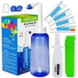 TONELIFE Sinus Rinse Kit 300ml+40Packets Nasal Salt+Moisturizing Nasal Sprayer-Nasal Wash Saline Packet Refills-Nose Cleaner-Neti Pot with Powdered Saline Convenient Packets for Adult Kids Nose Clean