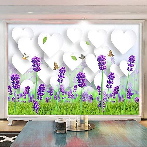 Msrahves Foto Mural Pared 3D Romance amor lavanda mariposa pared vinilos decorativos papel fotografico 3D Fondos de pantalla Fondo Pared Sala de estar Dormitorio TV Sofá Mural Papel tapiz