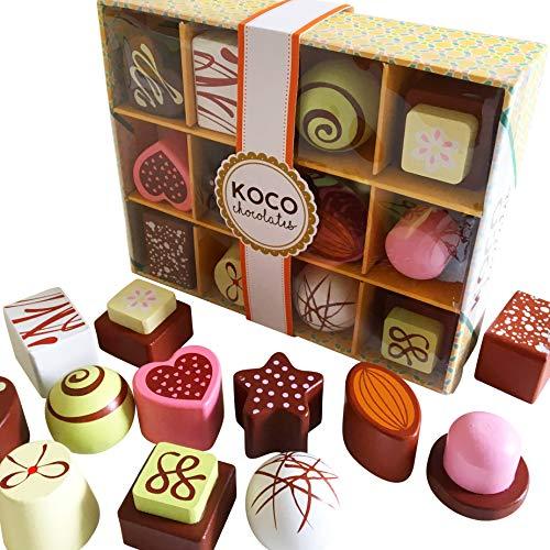bee SMART Schokoladen Box - Spielset für Kinder - Holzspielzeug Pralinen, Lebensmittel aus Holz Küchenspielzeug für Kinder Küche Rollenspiel