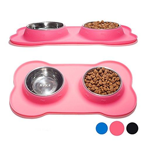 Pet Bowls, EONANT Doppie Ciotole per Animali da Compagnia in Acciaio Inox con Tappetino in Silicone Antisdrucciolo non Antiscivolo per Cani Gatti e Piccoli Animali Domestici (Rose)