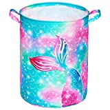 Beinou Mermaid Laundry Hamper 43.3L Waterproof Storage Basket Collapsible Toy Basket Canvas Organizer Basket with Handles for Kids Bedroom Baby Nursery Clothes