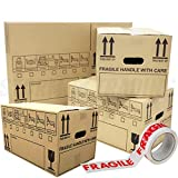 30 Strong Cardboard Storage Packing Moving House Boxes Double Walled with Fragile Tape