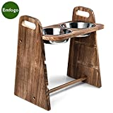 Emfogo Dog Bowls Adjustable 3 Heights 4in 8in 13in Rustic Wood Elevated Dog or...