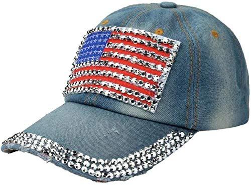 JIAHE115 Mini Persoonlijkheid baseballpet baseball-pet en wijd strass vlagontwerp vrouwen jeans cowboy hoed verstelbare baseballpet