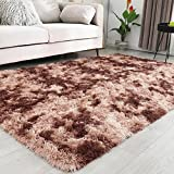 Sheown Abstract Super Soft Area Rug for Living Room Fluffy Shag Rug for Bedroom Plush Carpet for Kids Girls Boys Nursery Comfy Cozy Fuzzy Furry Accent Home Decor Indoor Dorm Modern Long Fur 4x6 Brown