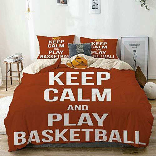 Juego de fundas nórdicas Beige, Keep Calm Play Cita de baloncesto Frase motivacional Cartel de la cultura pop, Juego de cama decorativo de 3 piezas King Size con 2 fundas de almohada Cuidado fácil Ant
