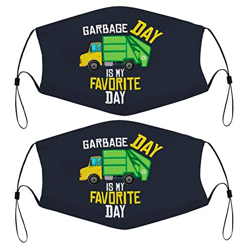 Garbage Day Is My Favorite - Recycling Trash Garbage Truck Kids Face Mask Set Of 2 With 4 Filters Washable Reusable Adjustable Black Cloth Bandanas Scarf Neck Gaiters For Adult Men Women Fashion Desig