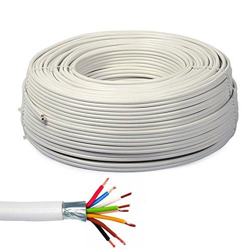 Bobina de cable de 100 metros blindados para alarma antirrobo 2 x 0,50 + 6 x 0,22