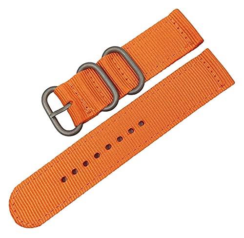 Lzpzz Correa de nailon de 18 mm, 20 mm, 22 mm, 24 mm, correa de nailon para reloj, hebilla de tela, accesorios de pulsera (color: 18 mm, tamaño: naranja S)