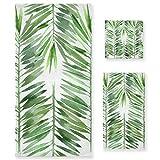 LUPINZ Green Fresh Leaves - Juego de toallas de mano y toalla de baño (3 piezas)