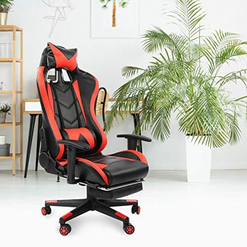 Silla para juegos giratoria de cuero PU, cómodo cojín, silla de oficina, ruedas multidireccionales para adolescentes y adultos(Red black)