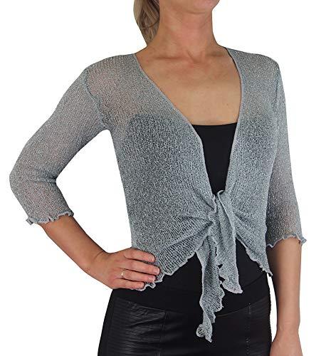 Ladies Crochet Glitter and Plain Stretch Lace Fish Net Bali Tie at Waist Bolero Shrug Open Cardigan (One Size fits UK 8-16, Grey/Silver)