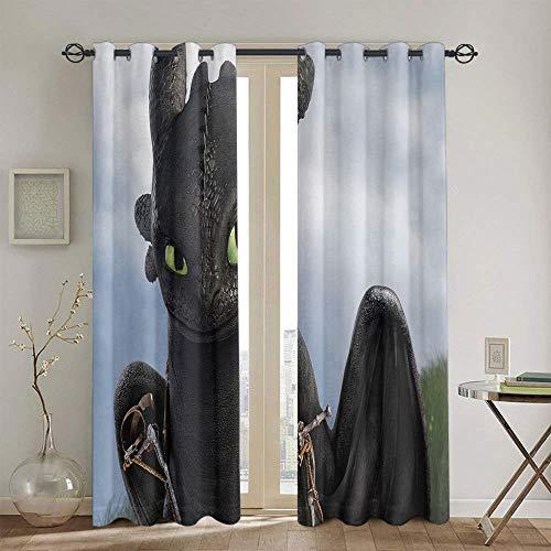 Cortinas con diseño de cómo entrenar a tu dragón para dormitorio, cortina de ventana, tela de 160 x 160 cm
