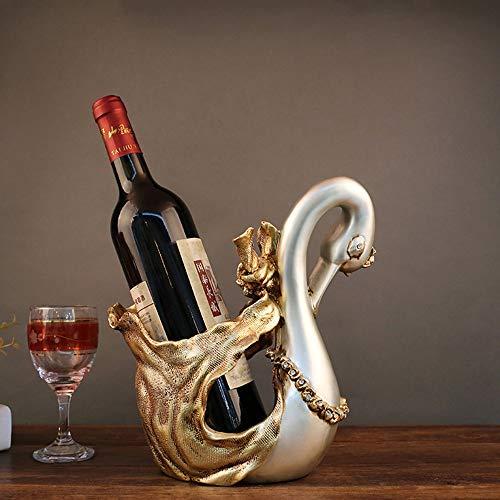 MGWA Estante de Vino Resina Europea Creativa Antigua Gold Swan Wine Rack Bandeja De Vino Adornos Prácticos Decoraciones Hotel Muebles Artesanía 22 * 14 * 25 CM