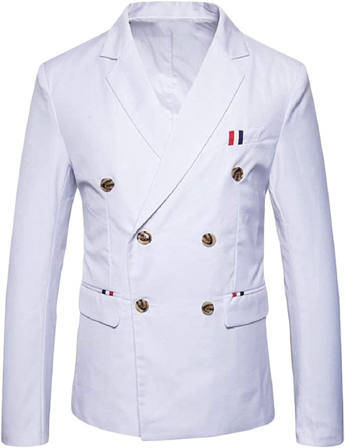 SpaceAngel Mens Double Breasted Notched Collar Simple Plus-Size Blazer Jacket