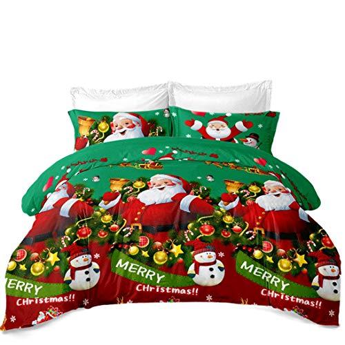 Junsey 3Pcs Merry Christmas Bedding Queen Size Santa Claus Duvet Cover Xmas Reindeer Snowman Bedding Kids Cartoon Quilt Cover New Year Decoration,Green