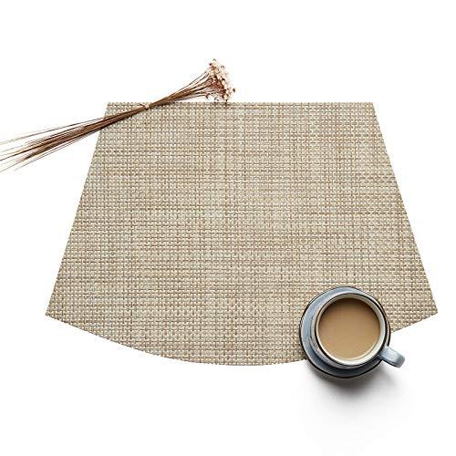 Manteles individuales en forma de cuña para mesa redonda Juego de 6, mantel individual de vinilo tejido, tapetes resistentes al calor, tapete de cocina lavable