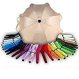 BAMBINIWELT Sonnenschirm für Kinderwagen Ø68cm UV-Schutz50+ Schirm Sonnensegel Sonnenschutz (Beige)