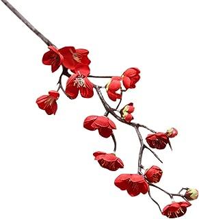Cigou Artificial Silk Fake Flowers Plum Blossom Floral Wedding Bouquet Party Decor (Red)