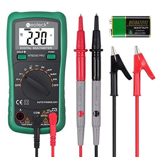 Neoteck Digitales Multimeter, AC/DC, Spannungswiderstand, Multi-Tester, Voltmeter, Amperemeter, Amperemeter, mit Hintergrundbeleuchtung, LCD für Schule, Labor, Fabrik und soziale Bereiche, Grün
