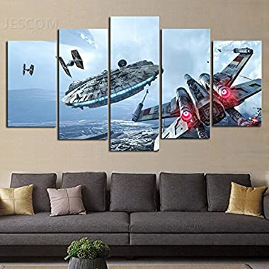 HD Print 5 pcs canvas Wall Art Star Wars Painting Canvas Modern for Living Room Decor Size 30x50cmx2,30x70cmx2,30x80cmx1 (A, With Wood Frame)