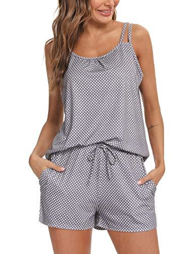 Doaraha Pijama Corto Mujer Verano Impresión de Lunares Ropa de Dormir Camisola Camiseta sin Mangas Pantalones Cortos Conjunto de Pijamas Cortos Suave Dos Piezes (Gris, XXL)