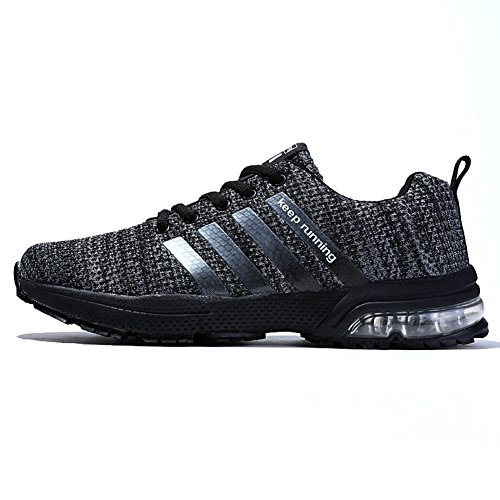 Topteck Air Cushion Running Shoes Men Womens Lightweight Sports Sneakers Athletic Walking Tennis Grey