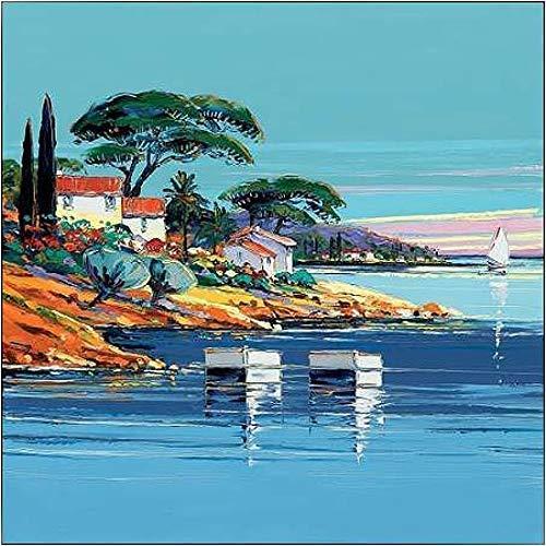Rahmen-Kunst Keilrahmen-Bild – Corbiere: La cote d'Azur Leinwandbild Provence Süd-Frankreich Meer Küste