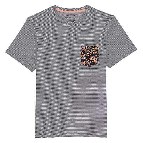 Oxbow N1TUBEM Tee shirt manches courtes rayé Homme, Bleu (Deep Marine), S