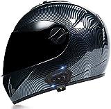Bluetooth Integrado Casco Moto Integral,ECE Homologado Flip Up Casco modular de cara completa Visera Doble Antivaho Cascos de motocross para Mujer Hombre Adultos B,S