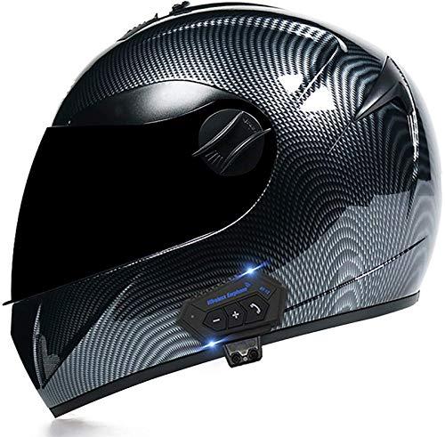 Casco Moto Bluetooth Doppia visiera antiappannamento Casco Integrale da Moto Omologato ECE Scooter Caschi Motorino Integrali off-Road Caschi per Donna e Uomo B,M