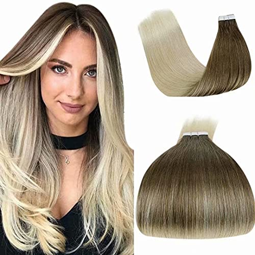 Tape Extension Blond - Extension Adhesive Cheveux Naturel Remy Hair Blond Platine Bande Extension Cheveux Maxi Volume Tape in Extensions Human Hair 1,5g/pc 20Pièces/30G 12Pouce/30cm…