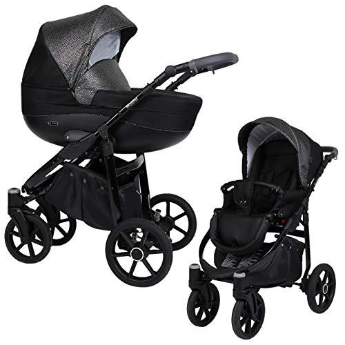KUNERT Kinderwagen MASTER Sportwagen Babywagen Autositz Babyschale Komplettset Kinder Wagen Set 2 in 1 (Schwarz mit Blitz, Rahmenfarbe: Schwarz, 2in1)