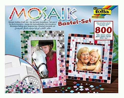 folia 57019 - Mosaik Bastel Set, mit über 800 Teilen - ideal zur Gestaltung individueller Bilderrahmen