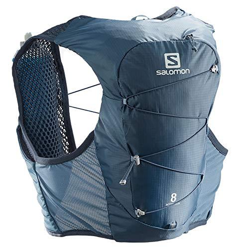 Salomon Active Skin 8 Set Unisex Trail Running Vest Backpack, Copen Blue/Dark Denim, Large