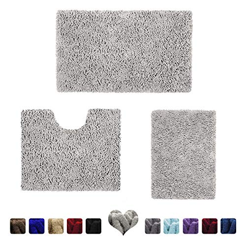 HOMEIDEAS 3 Pieces Bathroom Rugs Set Light Gray, Luxury Soft Chenille Bath Mats Set, Absorbent Shaggy Bath Rugs & Slip Resistant Plush Carpets Mats for Tub, Shower, Bathroom