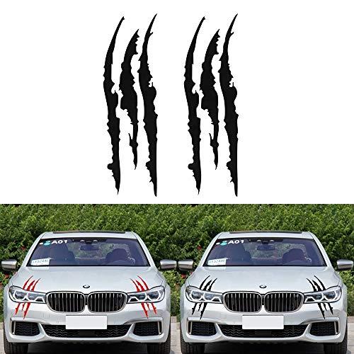 NoNo Auto Dekoration Aufkleber Reflektierende Autoaufkleber Monster Scratch-Streifen-Greifer-Kennzeichen-Auto-Scheinwerfer-Dekoration-Vinyl-Aufkleber Auto-Aufkleber (2 PCS) (Color : Black)