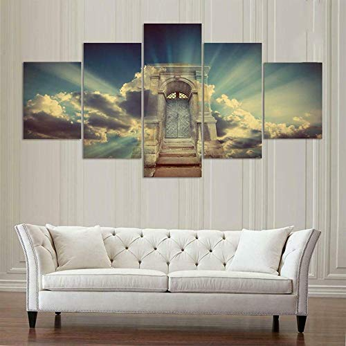 BHJIO 5 Piezas Cuadro sobre Lienzo Imagen Luz De Revelación De La Puerta del Cielo Impresión Pinturas Murales Decor Fotos para Salon Dormitorio Baño Comedor Regalo 80X150Cm