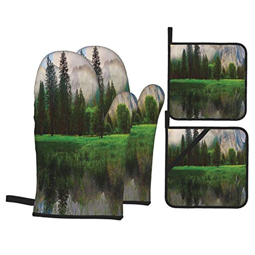 F-shop Sunset Panorama of Yosemite Cathedral Rocks Trees Cloudy Sky Reflection Riverside Beige Green Oven Gloves and Pot Holders Set Personalized Barbecue Cooking Mitts