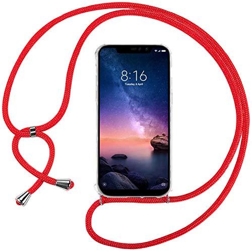 Ingen Funda con Cuerda para Xiaomi Redmi Note 6 Pro - Carcasa Transparente TPU Suave Silicona Case con Colgante - Rojo