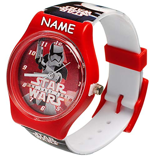 alles-meine.de GmbH Kinderuhr / Armbanduhr - Star Wars - inkl. Name - Analog - Quarz / Analogarmbanduhr - Lernuhr - hochwertige Uhr / Kinderarmbanduhr - Analoguhr - Kinder - Uhre..