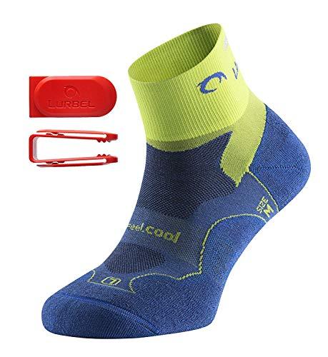 Lurbel Distance Kurze Premium Laufsocken/Sportsocken, antibakteriell, atmungsaktiv, mit Polsterung und Blasenschutz, Damen & Herren (blau/Pistazie 43-46)