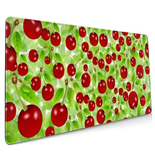 Long Mousepad (35.5x15.8in) Flyer Background Cherry Vector Illustration Desk Pad Keyboard Mat, Non-slip Base, Water-resistant, For Work & Gaming, Off