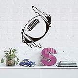 58 X 82 cm Décoratif unique pour la chambre Autocollant mural rotatif avec ballon de rugby Autocollant mural en vinyle amovible Autocollant autocollant pour rugby de football