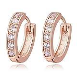 18K Oro Blanco Chapado Aretes con Diamante con Zirconia Cúbica, Pendientes de Aro, Hoop Earrings para Mujeres (Rosa)