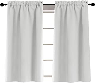 Rod Pocket Curtians for Glass Door Tiers for Kitchen Laundry Room Light Reducing 40 Inches, 2 Panels, Greyish White