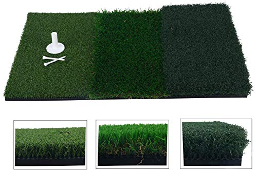 FreeTec Golf Übungsmatte Trainingsmatte 3 unterschiedlichenOberflächen Kunstrasen (25 x 16 Zoll) tragbare Abschlagmatte inkl. Gummi Tee
