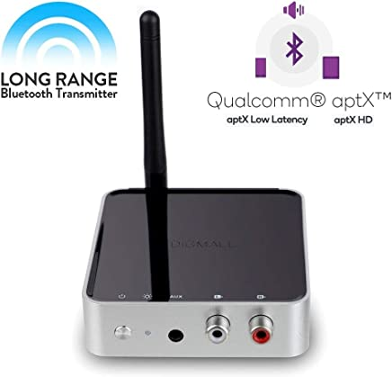 DIGMALL 長距離328フィート Bluetooth V5.0オーディオトランスミッターレシーバー テレビホームステレオスピーカーカーサウンド デジタル光学RCA Auxワイヤレスアダプタ 認定apt-X HD apt-X低レイテンシー デュアルストリーム