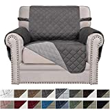Easy-Going Sofa Slipcover Reversible Sofa Cover Furniture Protector Couch Cover Elastic Straps PetsKidsChildrenDogCat(Chair,Gray/Light Gray)